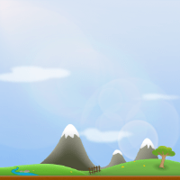 Vector rendered landscape with hills and a mountain in the background.