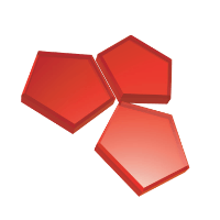 Three red pentagons meeting in the middle.