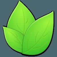 Rendering of three green leaves.